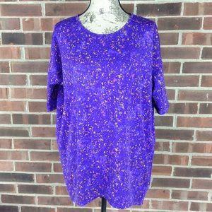 NWOT LuLaRoe purple blue print Irma top